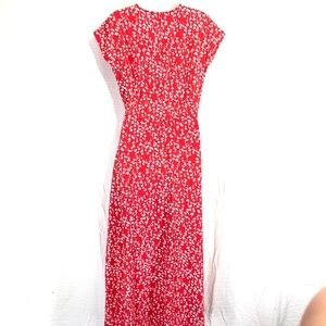 Lands' End Dresses - LAND'S END Red Floral Maxi Cotton Knit Dress ~sz S